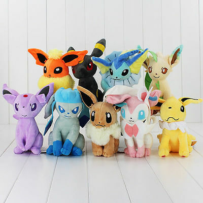 "7"" / 18cm Pokemon Evolution Of Eevee Plush Kids Toys Doll Eeveelution"