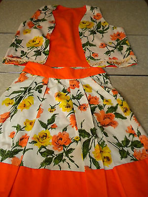 Vintage handmade Women's Suit Vest skirt Beaded Floral 1960's 80's 2pc Small