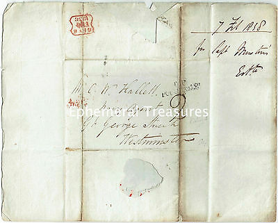 1838 entire to Hallett, Navy Agent, London. T.P.Portugal St cancel