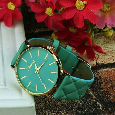 Casual Womens Watches Unisex Geneva Leather Quartz Analog Wrist Watch Green Band