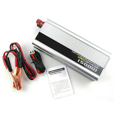 1pc 1500W In Car Power Inverter 24VDC to 220VAC Modified Sine Wave Converter USB