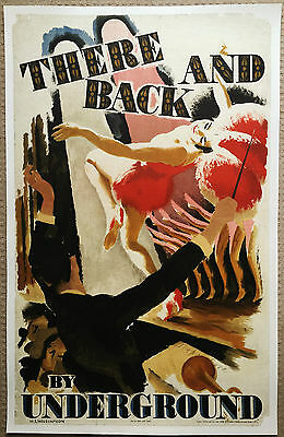 THERE AND BACK UNDERGROUND vintage original antique deco railway travel poster