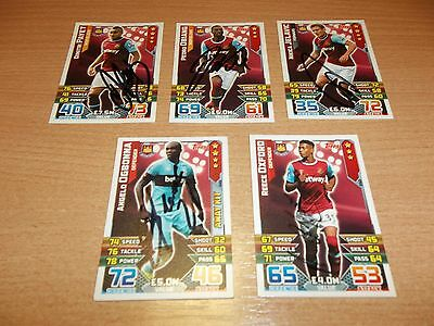 5 Signed West Ham Match Attax cards