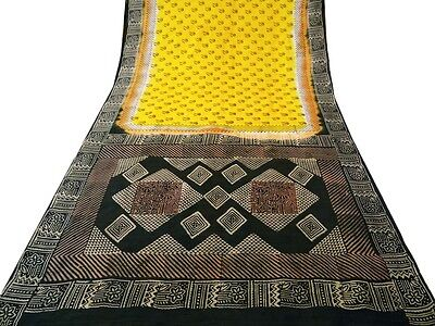 Vintage Indian Saree Art Silk Printed Fabric Art Decor Craft Floral Yellow Sari