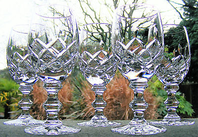 """Set Of 5 Cut Glass Crystal 4 3/8"""" Port Or Sherry Glasses"""