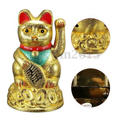"4.5"" Feng Shui Fortune Gold Ingot Chinese Lucky Wealth Waving Cat by AA Battery"