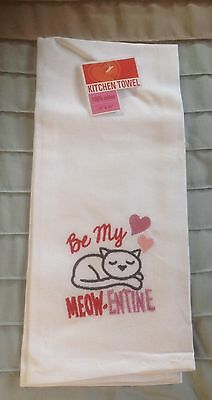 """Valentine Embroidered Kitchen Towel """"Be My Meow-entine"""""""