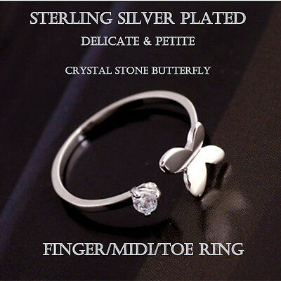 Sterling Silver 925 Plated Cubic Zirconia Butterfly Finger Midi Toe Ring R32