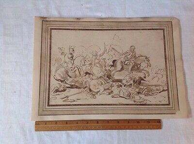 Antique Pen And Ink With Sepia Wash Battle Scene,Perhaps Kosovo Fields