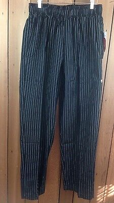 NWT! Chef Works Pinstriped Chef Pants Elasticated Waist ~ Size Large