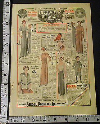 1913 Ad Siegel Cooper Fashion Costume Clothing Dress Department Store