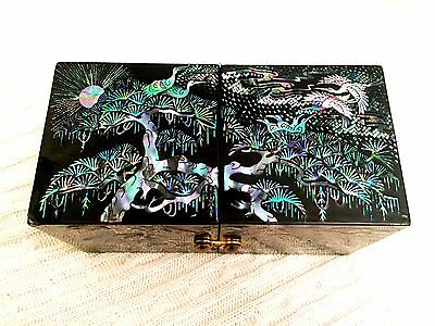Antique JAPANESE Lacquered Mother of Pearl Folding Jewelry Box