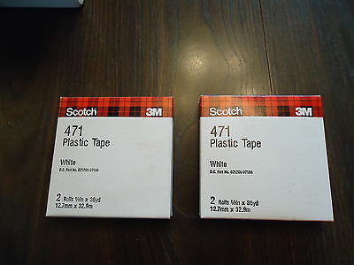 2 SCOTCH 3M 471 PLASTIC TAPE WHITE 2 ROLLS EACH BOX. 1/2' X 36 YD.(12.7mm x 32.9