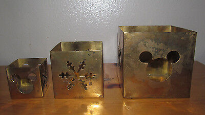 Disney Mickey Mouse Icon and Snowflake Christmas Brass Candle Holder Set of 3
