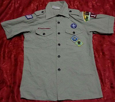Q271 Used OFFICIAL BSA BOY SCOUTS OF AMERICA Uniform shirts YOUTH Large 38""
