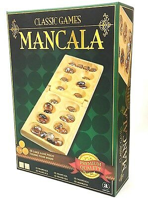 Classic Games Mancala Folding Board Game Pebbles Wooden Adult Toy Game