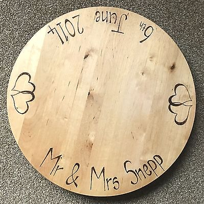 Rustic Wood Wooden Round Rotating Wedding Cake  Serving Board Personalised
