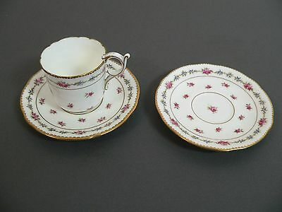Antique Coalport coffee cup / can and two saucers - pattern 5960 B, circa 1910