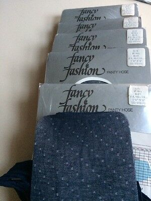 6 Pairs Of Vintage Navy Patterned Tights Large
