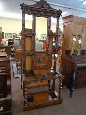 Jacobean Oak Hall Stand with North Wind Face c. 1890's  Inv#2500B