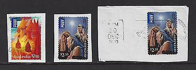 Australia 3 used Christmas stamps - the last one with an interesting cancel