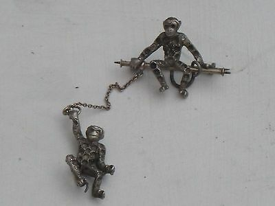 ANTIQUE VICTORIAN   9ct GOLD & SILVER DOUBLE MONKEY BROOCH