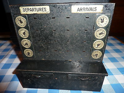 Vintage Tinplate O gauge Departure and Arrivals board ( Two working Drawers )