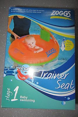 Zoggs Baby Trainer Swimming Seat-3-12 Months / Stage 1-Orange-New In Box