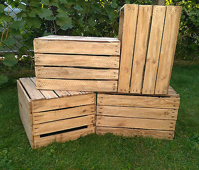 6 AMAZING VINTAGE WOODEN APPLE CRATES BOXES - GROUND and POLISHED !