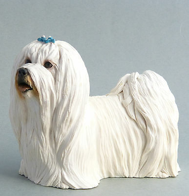 Maltese Terrier Dog Figurine Ornament Made In England Signed