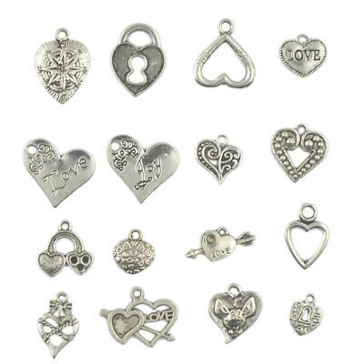 50x Antique Silver Heart Charms/Pendants Vintage Steampunk Jewelry DIY Craft
