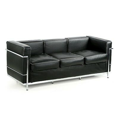 Iconic Modern Chrome Steel and Leather Sofa after the Le Corbusier LC2
