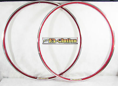 Vintage NOS AMBROSIO EVOLUTION 700c 32h RED CLINCHER RIM SET Mint New Old Stock