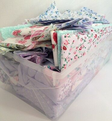 2kg Craft Box Of Fabric Scraps Remnant Polycotton Floral Vintage Sewing Quilting