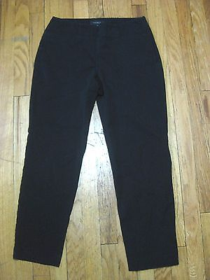 Women's TALBOTS CASUAL PANTS Black Slim Fit Heritage Size 4 Side Zip Stretch