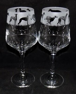 "New Etched ""WHIPPET"" Wine Glass(es) - Free Gift Box - Large 390mls Wine Glass"