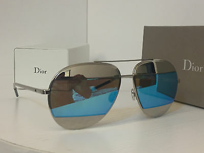 New Christian Dior Split 1 Silver Blue 100% UV Mirrored Sunglasses