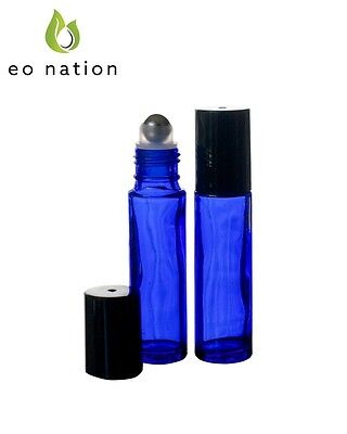 Box of 30 10ml. Cobalt Glass Roller Bottles with Stainless Rollers & Black Caps