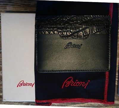 BRIONI porta carte di credito - card holder - 100% pelle leather