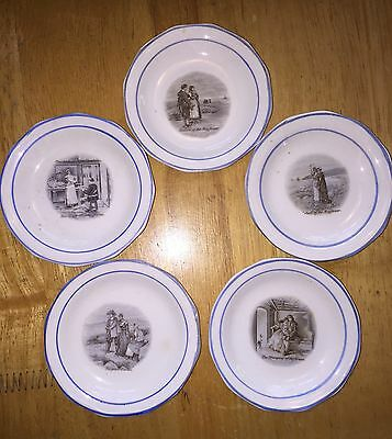 "5 Sterling China USA ""Courtship of Miles Standish"" Transfer Butter Pats ca.1900"