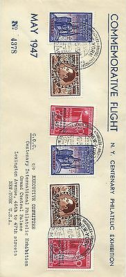 1947 commemorative flight cover Brussels to New York Centenary Exhibition