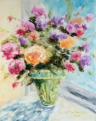 Flowers oil painting on canvas, signed 40x50 cm