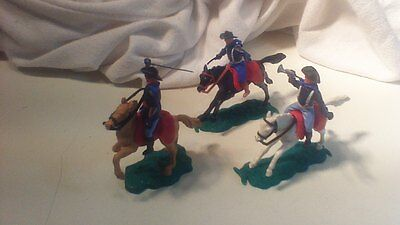 3 X Timpo Toys Mounted Horseback Wild West Usa American 7Th Cavalry Civil War