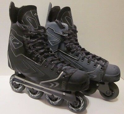 CCM SE 88 Roller Hockey Skates 10 D Black Exo-Skel White Paint Over Spray