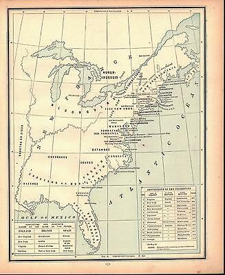 Settlement of the 13 Colonies Antique Colored Map 1887