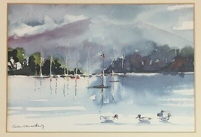 Lake, signed watercolour painting in frame