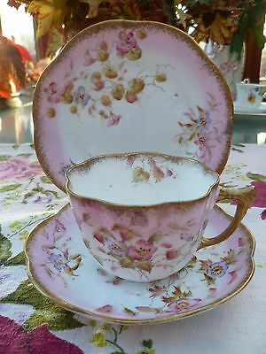 Vintage / Antique English China Trio Tea Cup Saucer Pink Floral Daisy Shape