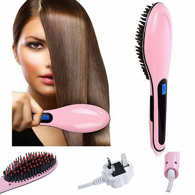 ELECTRIC Hair Straightener Brush Comb LCD Display Iron Hair Massager - UK SELLER