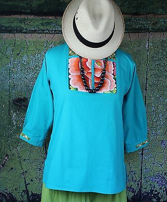 Peach & Turquoise Tunic Tehuana Mexico, Hand Embroidered, Hippie Peasant Frida
