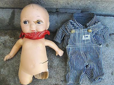 BUDDY LEE COMPOSITION Doll w/Overalls Clothes Great Shape Doll Part Or Repair
